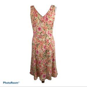 LOFT Linen Blend Floral Dress